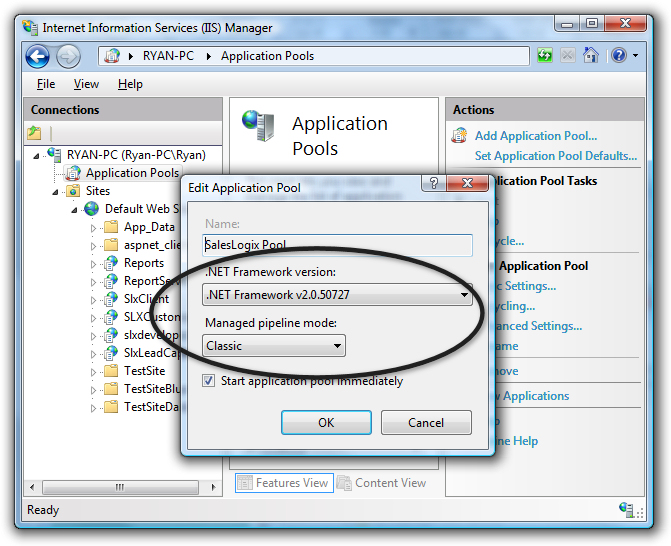 how to delete iis application pool