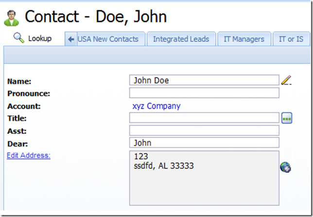 Custom Edit Address on SalesLogix detail Quick Form