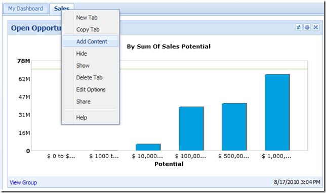 New SalesLogix Web SP3 Dashboard User Options