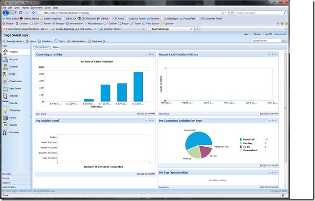 New SalesLogix Web SP3 Dashboard