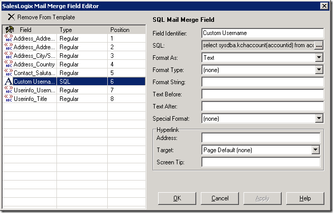 SQL Mail Merge field