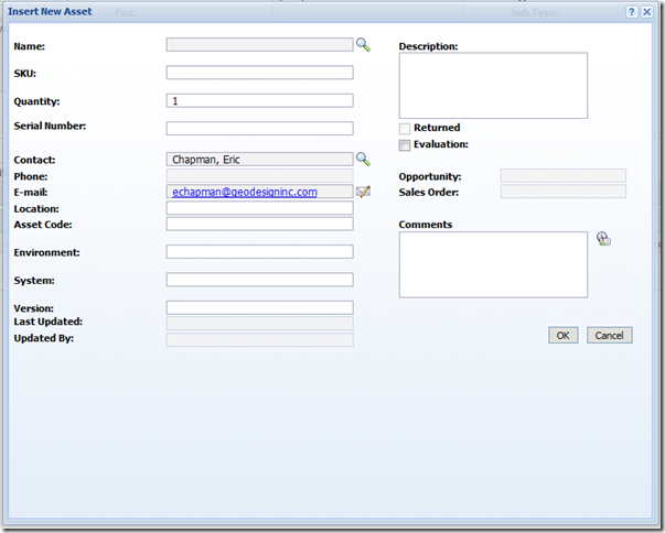 SalesLogix Add Edit Asset screen Web