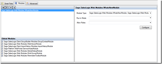 SalesLogix Application Architect Whats new Page - Modules