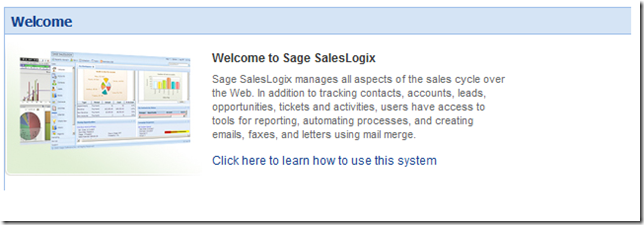 SalesLogix IntroText on Welcome Page