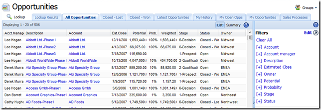 SalesLogix Opportunity filters