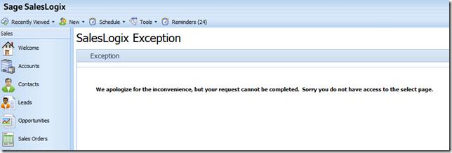 SalesLogix Web SP3 Secured Page Error