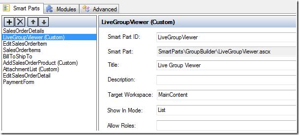 SalesLogix entity page LiveGroupViewer