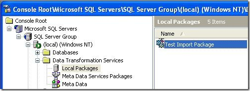 SQL DTS Package List