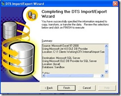 SQL Import Wizard Final Screen