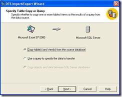 SQL Import Wizard Import What