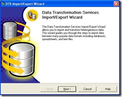 SQL Import Wizard Screen 1