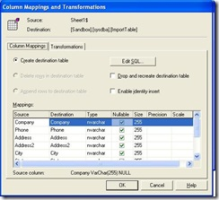 SQL Import Wizard Transformation