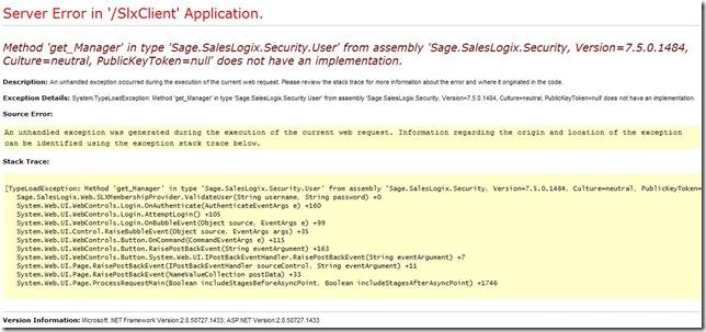 SalesLogix Security Error