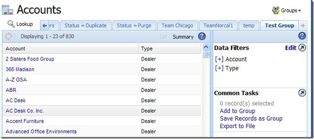 SalesLogix 7.5 Web Filters