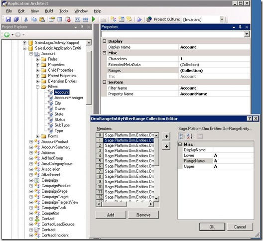 SalesLogix 7.5.1 Entity Filters