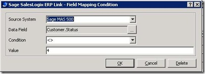SalesLogix ERP Defining a Field Condition