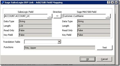 SalesLogix ERP Defining a Field Mapping