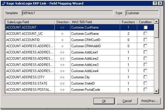 SalesLogix ERP Field Mapping Editing