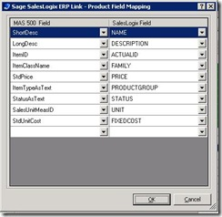 SalesLogix ERP Link Load Refresh Products Field Mapping