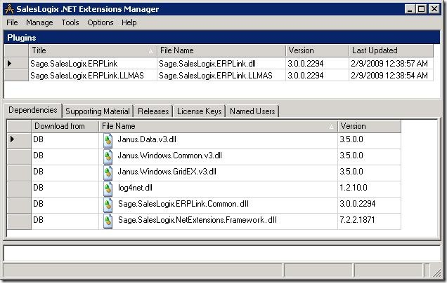 SalesLogix ERP Link NET Extensions