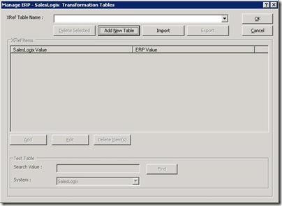 SalesLogix ERP Link Transformation Table Manager