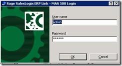 SalesLogix ERP Set Login Parameters
