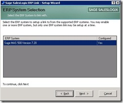 SalesLogix ERP Setup Wizard 2