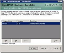 SalesLogix ERP Setup Wizard Address Template