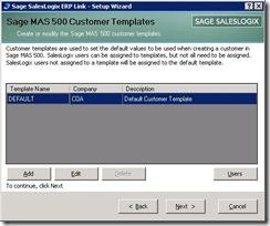 SalesLogix ERP Setup Wizard Customer Template