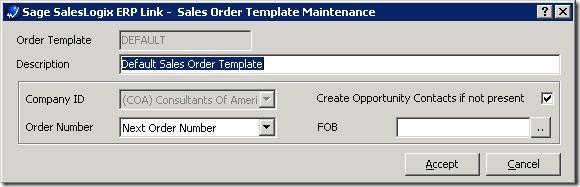 SalesLogix ERP Setup Wizard Edit Address Template