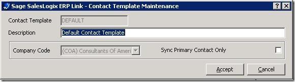 SalesLogix ERP Setup Wizard Edit ContactTemplate