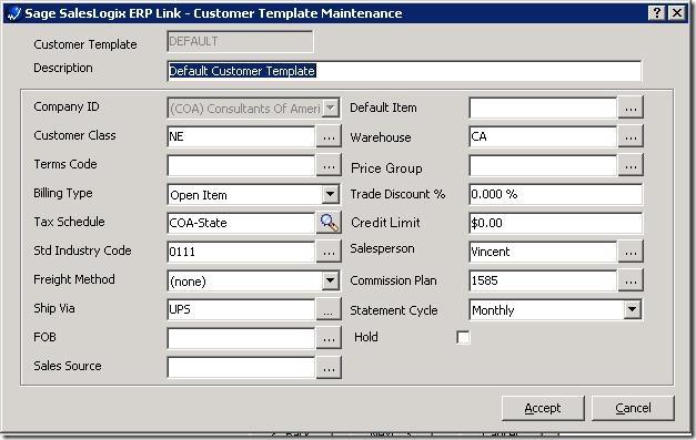 SalesLogix ERP Setup Wizard Edit Customer Template