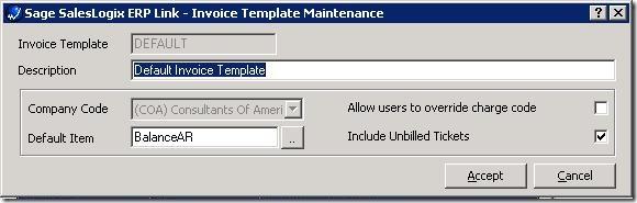 SalesLogix ERP Setup Wizard Edit Invoice Template
