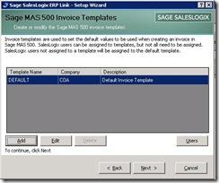 SalesLogix ERP Setup Wizard Invoice Template